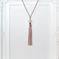 Vintage/flapper/1920's long Rose Gold necklace with pearl beads & chain tassel