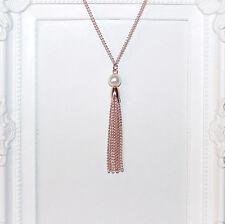 VINTAGE/Flapper/anni 1920 lunga Collana in oro rosa con perle Perle & Catena Nappa
