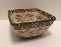 "Temp-Tations By Tara Old World Green 6.5"" or 1.5 Qt. Square Bowl Ovenware NICE"