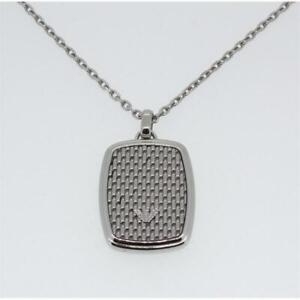 Emporio Armani Herren Halskette Anhänger Edelstahl silber 50+5cm EGS2137040