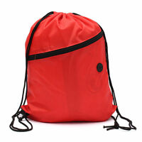 String Drawstring Backpack Cinch Sack Gym Tote Bag Polyester School Sport Pack A