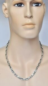 """Konstantino Men's Sterling Silver Rectangular Link Chain Necklace 22"""" New"""