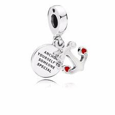New Authentic Pandora Charm Anchor of Love Dangle Charm, Red & Black Enamel