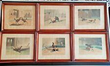 Six Mid 19th N Fielding Cockfighting Aquatints in Original Frames - circa 1860