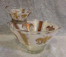 Vintage Mid-Century Anchor Hocking Gold Fleur De Lis Chip Dip Bowl Set FREE S/H