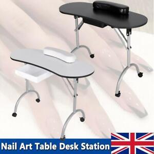 Manicure Nail Table Bar Art Salon Beauty Storage Station Desk w/ Carry Bag