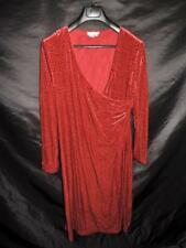 The Territory Ahead XL Red Velvet Dress Faux Wrap V Neck Long Sleeve Stretch XL