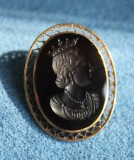 Antique Young Queen Victoria 9Ct Gold Carnelian Stone Intaglio Cameo Brooch Pin