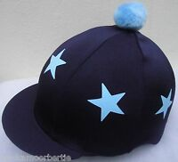 Riding Hat Silk Skull cap Cover NAVY * BABY BLUE STARS With OR w/o Pompom