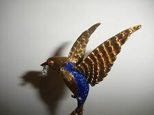 Exquisite Vintage 14K Gold enamel Flying Bird Brooch with Diamond Drop Ruby eye