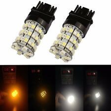 JDM ASTAR 2x 3157 LED Dual Color Switchback 60SMD White Amber Turn Signal Lights