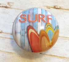 "4 Handmade SURF Knobs, 1.5"" Beach Drawer Pulls, Surfing Boards, Retro Style"