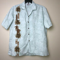 Pacific Legend Hawaiian Aloha Blue Shirt Tiki Palm Trees Turtles Surf Boards XL