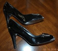 BCBG- BLACK PATENT LEATHER PEEP-TOE PUMPS- SIZE 8M- 3 3/4 IN HEEL-WORN ONCE