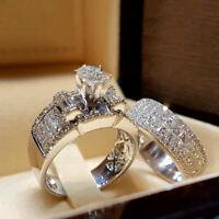 Chic Women White Sapphire 925 Silver Ring Set Wedding Engagement Jewelry Sz6-10