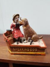 Cast iron coin bank speaking dog.