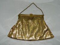 Vintage WHITING & DAVIS Gold Metal Mesh Evening Bag Coin Purse C