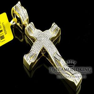 "Genuine Diamond Yellow Gold Finish Jesus Pendant Cross .50Ct Charm Pendant 2.75"""