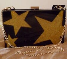 M&S BLACK GOLD SPARKLY BOXY DISCO PARTY CLUTCH CHAIN SHOULDER BAG RP £45 NEW