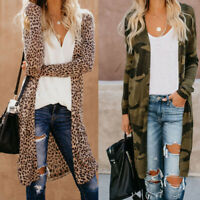 Women Leopard Print Floral Cardigan Tops Long Sleeve Sweater Jacket Coat Outwear