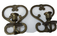 Vintage Brass Wall Sconces Taper Candle Holders 7 in Made in India