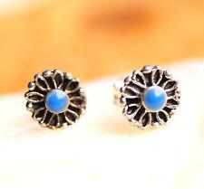 Kleine 6,5 mm Ohrstecker Silber Rund Lapis Lazuli Blau Türkis Floral Verspielt