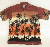 Ocean Current Hawaiian Shirt Large Mens Orange Black Short Sleeve Vintage