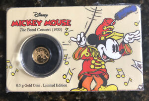 Mickey Mouse 0.5g Gold Coin (2016). Niue 🇳🇺 The Band Concert (1938)