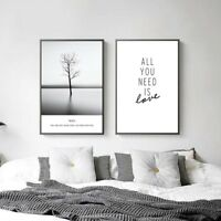 Black White Landacape Tree Canvas Poster Abstract Art Prints Wall Pictures Decor