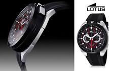 A Brand New High Quality Lotus 10128/1 Bull Head Black Ruber Chronograph Watch