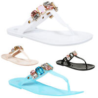 NEW LADIES JELLY FLIP FLOPS WOMEN SUMMER BEACH DIAMANTE TOE POST FLAT SANDALS