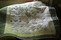 """Handmade Baby Boy Girl Quilt Lap Blanket 48""""x55"""" Green Yellow White Quilted"""