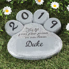 Paw Print Pet Dog Cat Memorial Garden Stone Personalized Cemetery Grave Marker