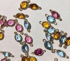 38 Gold Filled Frame Swarovski Channel Links Mix Color Lot 14x6 MM Oval 2 Eye