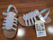 NEW TOMS Huarache Sandals Youth Girls Size 4.5 Silver Metallic $45.00
