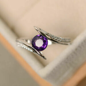Round Cut 1.35 Ct Diamond Amethyst Engagement Proposal  Ring 14K White Gold Over