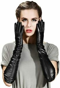 Womens Long Real Leather Gloves Winter Touchscreen Opera Evening Dress Driving