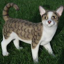 Katze Kater Katzen Mieze Tier Tierfigur Stehend Dekofigur Grau Weiß Gestreift