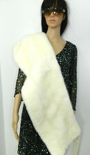 GENUINE WHITE MINK FUR STOLE SCARF CAPE SATIN RIBBON WEDDING  Vison-Nerz-Норка