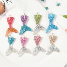 10X Mixed Glitter Mermaid Fish Tail Charm Resin Pendant Fit Bracelet/Necklac ER