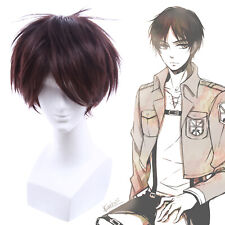 Eren Yeager Sora Tooru Oikawa Cosplay Wig Dark Brown Mens Short Straight Hair