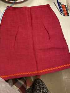 Bright Pink Linen LK Bennett Straight Skirt With Ried Rickrack Detail Size 14