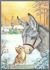 Aceo watercolor painting - cat kitten winter donkey