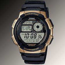 Reloj Nuevo Casio AE-1000W-1A3 Mapa Digital 10 Años Batería 5 Alarmas mundial