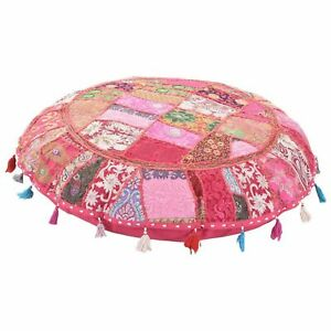 Indian Handmade Vintage Patchwork Cotton Round Floor Cover Ethnic Ottoman Cover