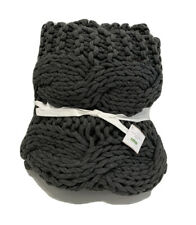 """Pottery Barn Chunky Handknit Throw Charcoal Gray 44""""x56""""  NEW Large Knit"""