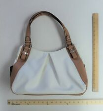 Women's Apt 9 White Tan Brown Black Braided Handles Purse Tote Style Hand Bag