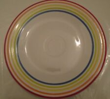 "Fiesta 9"" Luncheon Plate White Multi Color Stripes, Rainbow Signature Lines, NWT"