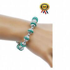 Turquoise Charm Bracelet Antique Silver Charm Chain Link Bracelet