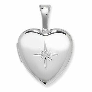 Sterling Silver Heart Locket Diamond Set Pendant
